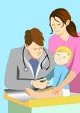 Ilustración del doctor que da la inyección a un bebé Imagen de archivo libre de regalías