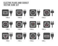 Ilustración del enchufe eléctrico Diverso tipo sistema del zócalo de poder, vector aisló el ejemplo del icono para los enchufes d ilustración del vector