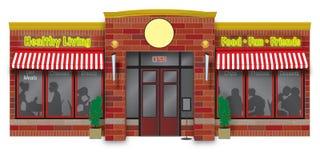 Ilustración del escaparate de la tienda de delicatessen Imagen de archivo libre de regalías