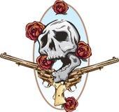 Ilustración del estilo del tatuaje de las rosas y de las pistolas de los armas stock de ilustración