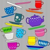 Ilustración del fondo de la diversión con las tazas Imagenes de archivo