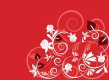 Ilustración del fondo del vector de plantas en rojo Imagenes de archivo