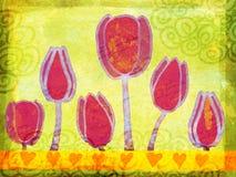 Ilustración del grunge de los tulipanes del resorte ilustración del vector