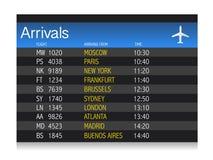 Ilustración del horario de llegada del aeropuerto Imagen de archivo