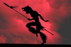 Ilustración del jefe indio en un cielo rojo Foto de archivo