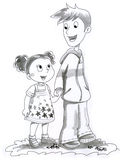 Ilustración del muchacho y de la muchacha Foto de archivo libre de regalías