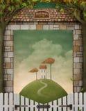Ilustración del otoño, cartel, gráficos de ordenador. Foto de archivo libre de regalías
