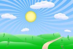Ilustración del paisaje de la salida del sol Imagen de archivo