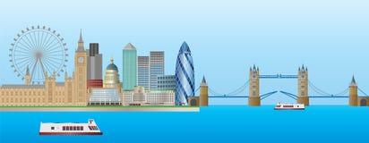 Ilustración del panorama del horizonte de Londres Imagen de archivo libre de regalías