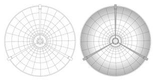 Ilustración del plato basado en los satélites stock de ilustración