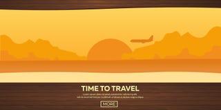 Ilustración del recorrido plano Hora de viajar Puesta del sol Aeroplano Playa Mar ilustración del vector
