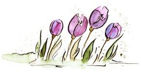 Ilustración del tulipán de Pascua