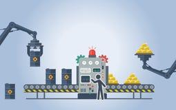Ilustración del vector Barriles de aceite de torneado en barras de oro Imágenes de archivo libres de regalías