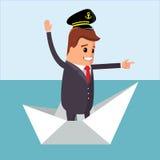 Ilustración del vector Carácter del encargado en el barco de papel Fotos de archivo