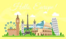 Ilustración del vector del concepto del recorrido Hola Europa, recepción Por todo el mundo viajando El histórico europeo más famo ilustración del vector