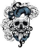 Ilustración del vector Cráneo con el pelo Inconformista del cráneo Estilo de la camiseta Foto de archivo libre de regalías