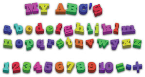 Ilustración del vector de 123 de ABD del alfabeto imanes del refrigerador Imagen de archivo libre de regalías