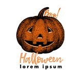 Ilustración del vector de la calabaza elementos dibujados mano del diseño de Halloween Ejemplo del diseño del feliz Halloween, lo Foto de archivo libre de regalías