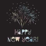 Ilustración del vector de la Feliz Año Nuevo El fuego artificial brilla hoja en colores del pastell del arco iris en fondo negro  libre illustration