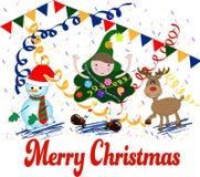 Ilustración del vector de la Feliz Navidad Divertido y feliz stock de ilustración