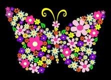 Ilustración del vector de la mariposa de la flor del resorte stock de ilustración