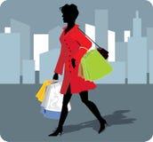 Ilustración del vector de la muchacha de compras. Fotos de archivo