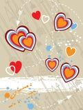 Ilustración del vector de la vendimia de corazones y de flechas Imagen de archivo