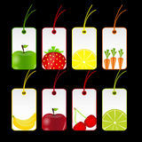 Ilustración del vector de las escrituras de la etiqueta de las frutas frescas ilustración del vector