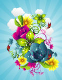 Ilustración del vector de las flores Fotos de archivo