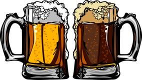 Ilustración del vector de las tazas de la cerveza o de cerveza de raíz Foto de archivo