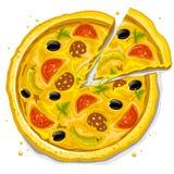 Ilustración del vector de los alimentos de preparación rápida de la pizza Fotografía de archivo libre de regalías