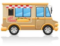 Ilustración del vector de los alimentos de preparación rápida del perrito caliente del coche Imagen de archivo libre de regalías