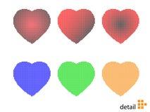 Ilustración del vector de los corazones del pixel Foto de archivo