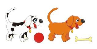 Ilustración del vector de los pequeños perros de los perritos Imagenes de archivo