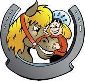 Ilustración del vector de un jinete y de un caballo Foto de archivo libre de regalías