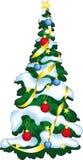 Ilustración del vector del árbol adornado de los christmass. Foto de archivo