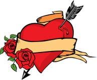 Ilustración del vector del corazón empalada por la flecha. Fotografía de archivo