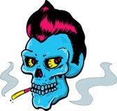 Ilustración del vector del cráneo del estilo del rock-and-roll Imagen de archivo libre de regalías