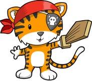 Ilustración del vector del tigre del pirata ilustración del vector