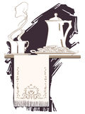 Ilustración del vector El bosquejo en el tema del desayuno Fotografía de archivo libre de regalías