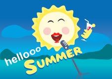 Ilustración del vector El sol canta en el micrófono Día de fiesta del verano Fotos de archivo libres de regalías