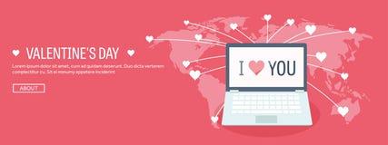 Ilustración del vector Fondo plano con el ordenador portátil Amor y corazones Rose roja Sea mi tarjeta del día de San Valentín 14 stock de ilustración