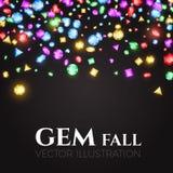 Ilustración del vector Gemas multicoloras que caen Diseño del tesoro Fondo abstracto del lujo y del juego Fotos de archivo libres de regalías