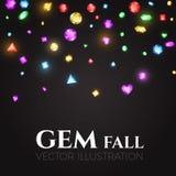 Ilustración del vector Gemas multicoloras que caen Diseño del tesoro Fondo abstracto del lujo y del juego Imagen de archivo libre de regalías