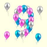Ilustración del vector globos coloreados realistas en el noveno bir ilustración del vector