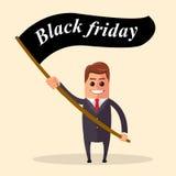 Ilustración del vector Hombre de negocios acertado Hombre de negocios que se coloca con la bandera el viernes negro Imágenes de archivo libres de regalías