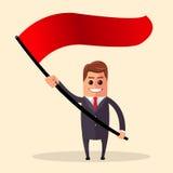 Ilustración del vector Hombre de negocios acertado Hombre de negocios que se coloca con la bandera roja Foto de archivo