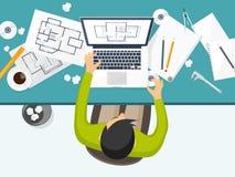 Ilustración del vector Ingeniería y arquitectura Dibujo, construcción Proyecto arquitectónico Diseño, bosquejando stock de ilustración