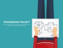 Ilustración del vector Ingeniería y arquitectura Dibujo, construcción Proyecto arquitectónico Diseño, bosquejando libre illustration