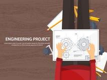 Ilustración del vector Ingeniería y arquitectura Dibujo, construcción Proyecto arquitectónico Diseño, bosquejando ilustración del vector